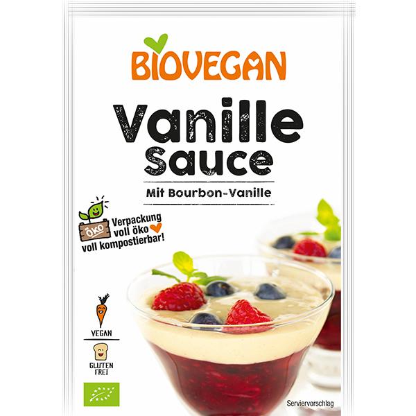 BIOVEGAN Vanille Sauce mit echter Bourbon Vanille, BIO